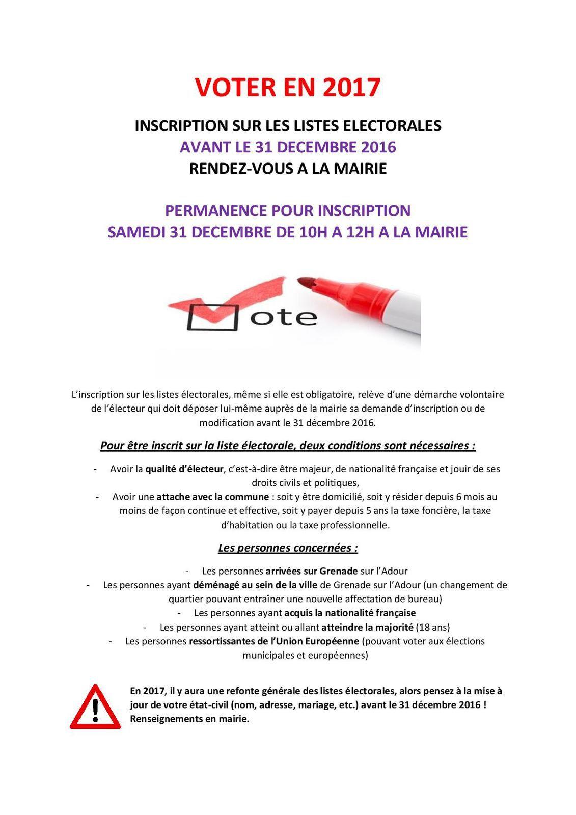 Permanence &quot&#x3B;inscriptions sur listes électorales&quot&#x3B; le 31/12 de 10h à 12h à la Mairie
