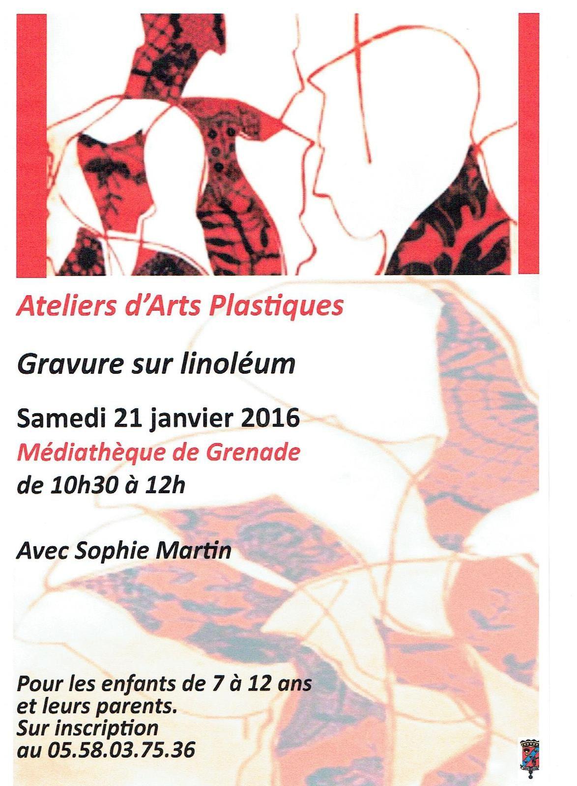 Samedi 21 janvier : Ateliers d'arts plastiques à la Médiathèque