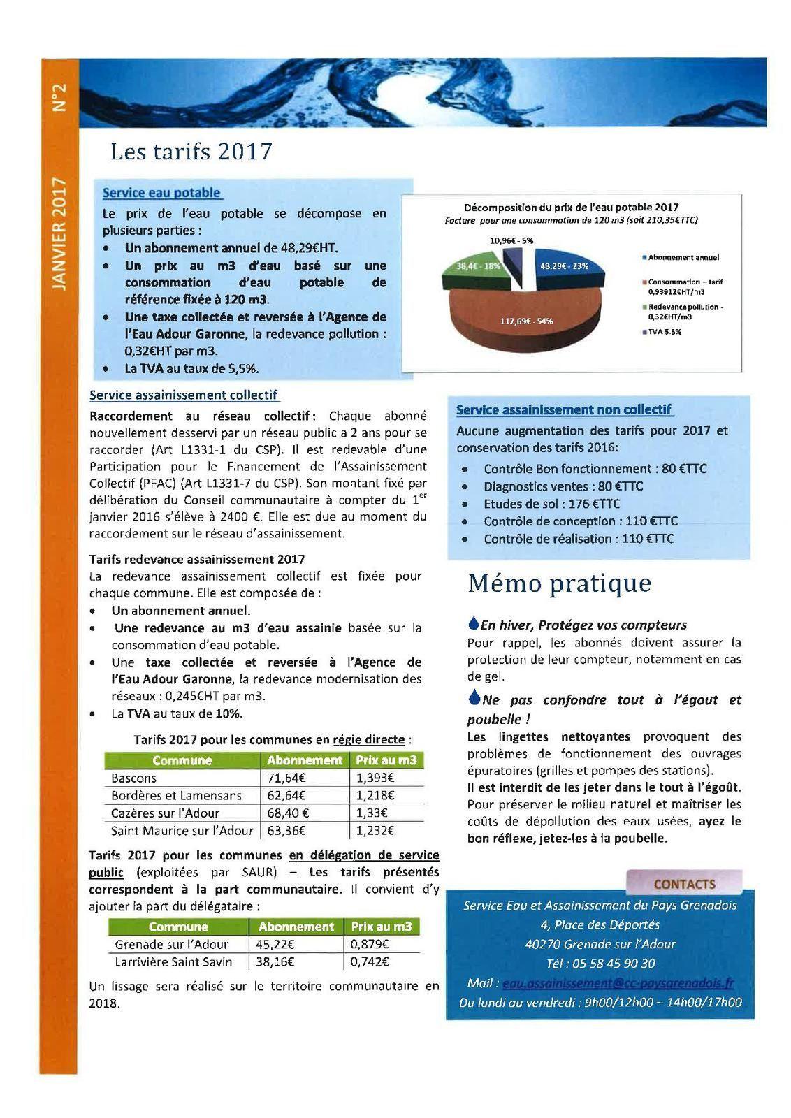 Bulletin d'information - Régie eau et assainissement du Pays Grenadois