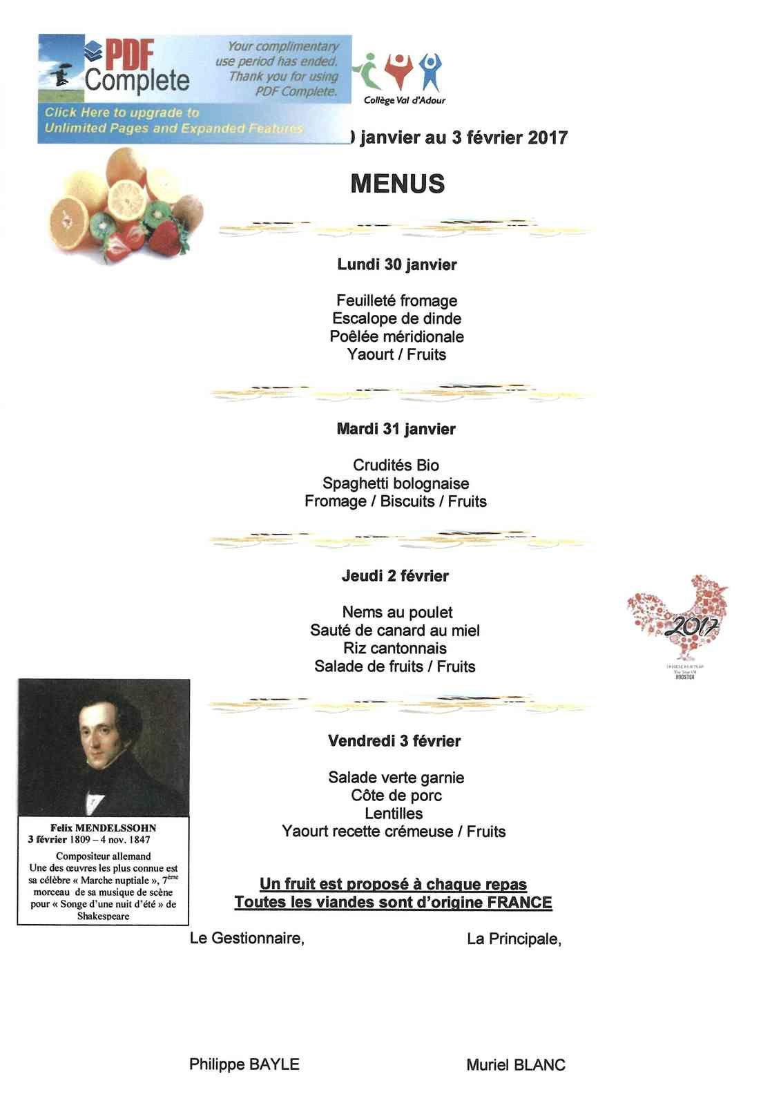 Menus restauration scolaire du 30.01.17 au 03.02.17