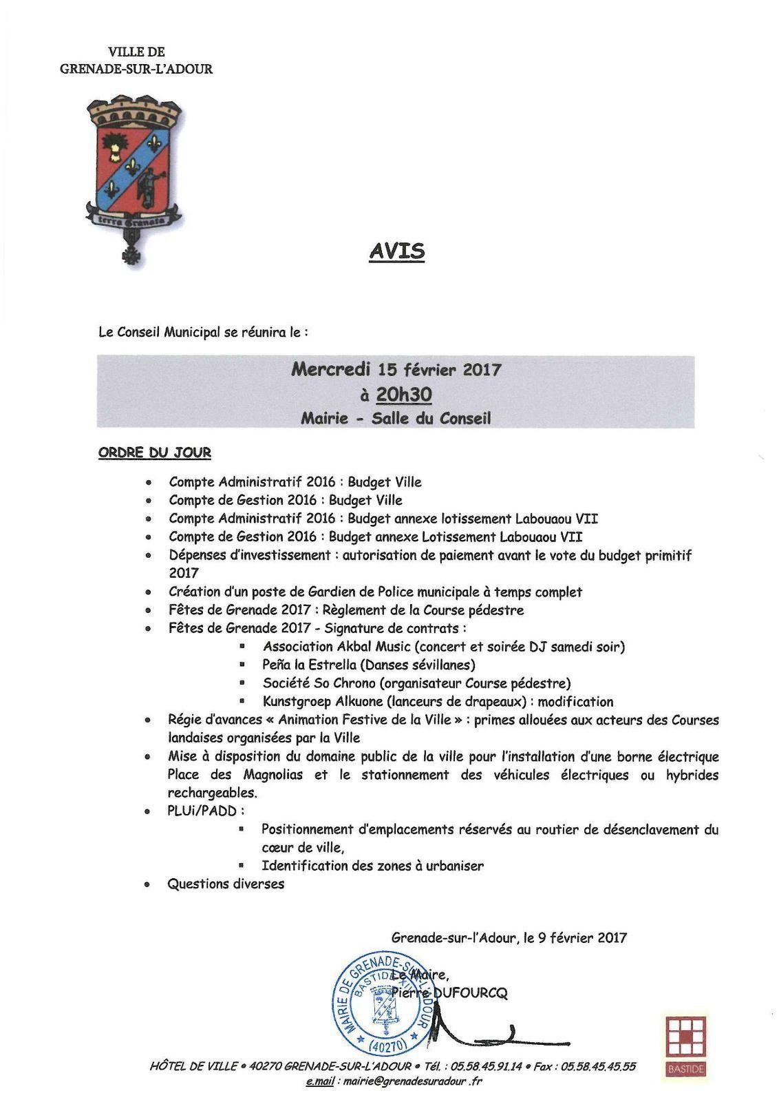 Avis du Conseil Municipal du mercredi 15 février 2017