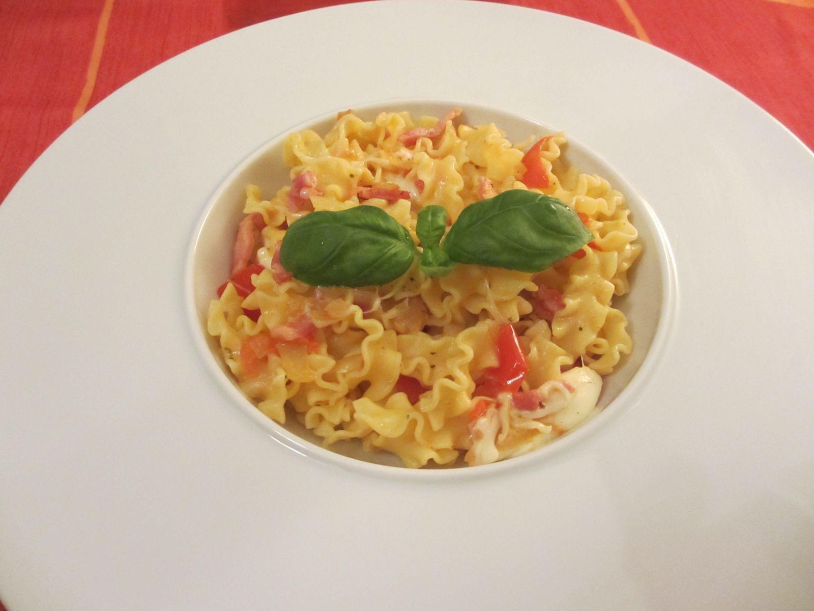 Lasagnettes tomates lardons