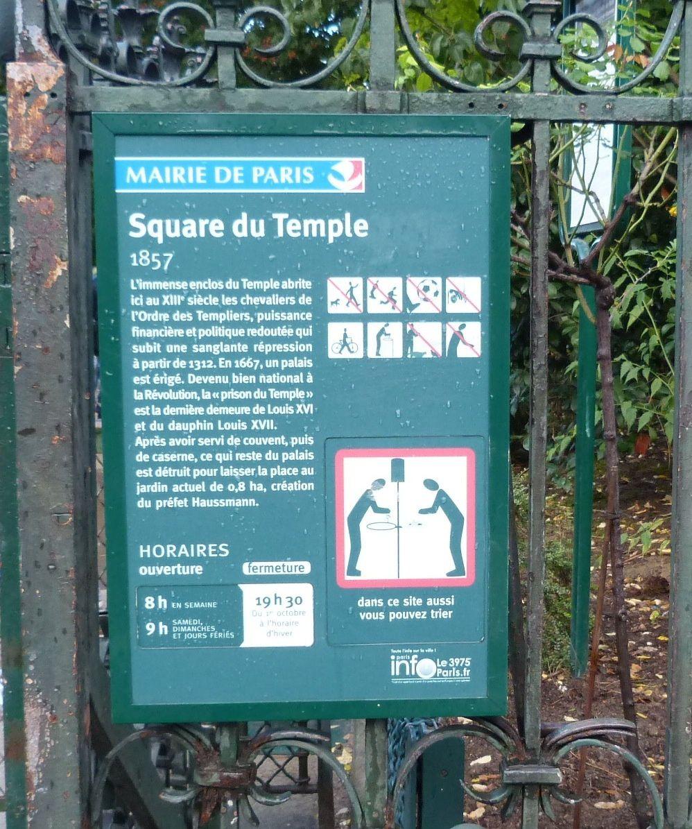 ©Kris Darquis.  Hier, synonyme de souffrance et de tragédie, le square du Temple a été depuis transformé en lieu de promenade.