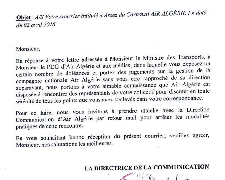Réponse d'Air Algérie + Réponse de certains &quot&#x3B;syndicalistes&quot&#x3B;