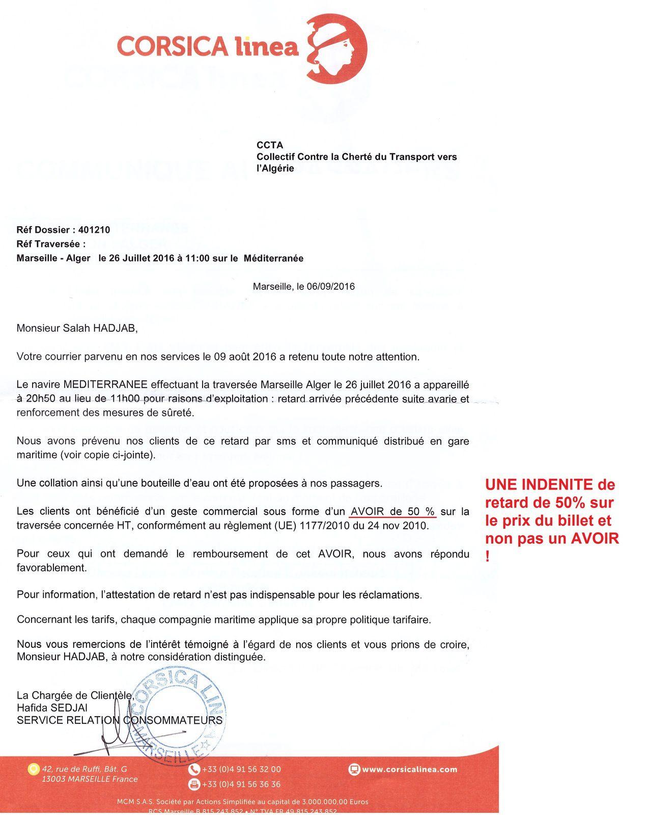Passagers maritimes, vous avez le droit à une indemnité (et non pas un avoir) de 50% du prix de la transesée