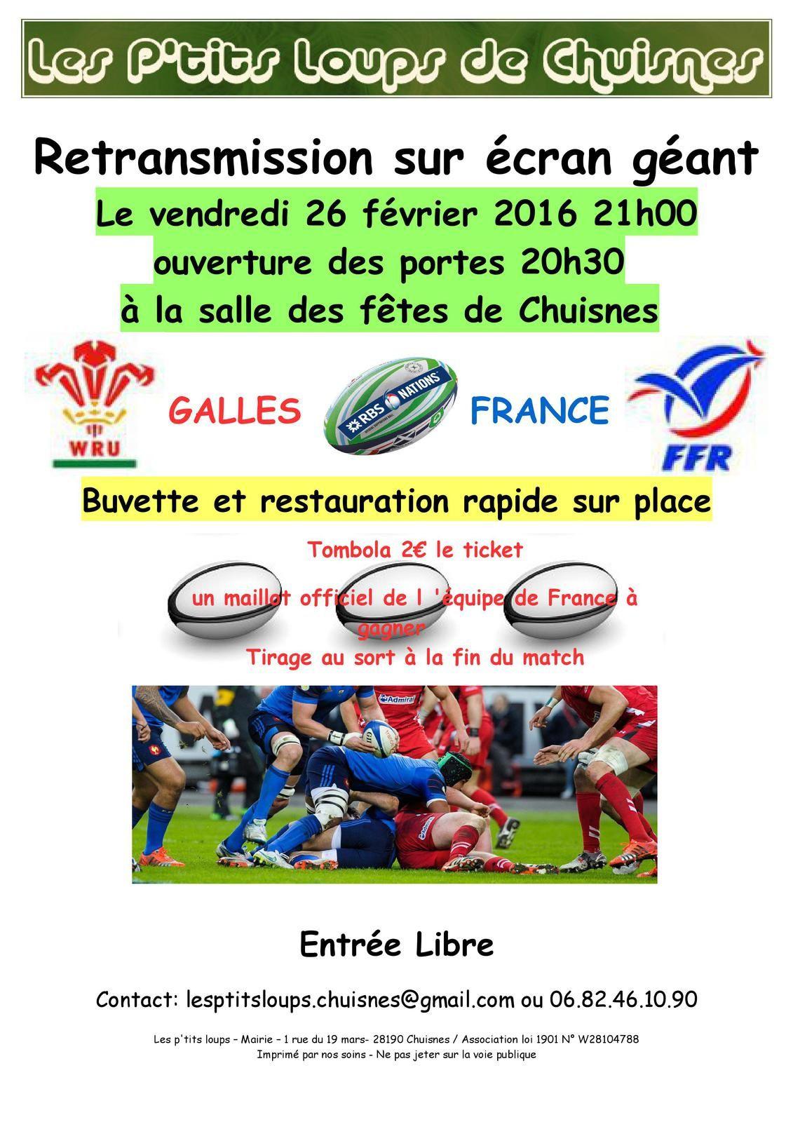 Retransmission match de rugby Galles-France le vendredi 26 février 2016