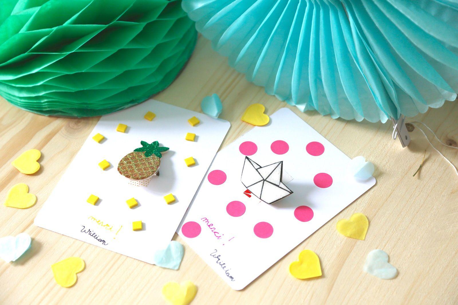 Petites cartes avec broches tendances paillettes!