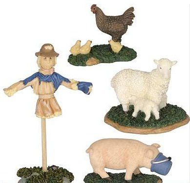600302 Scarecrow sheep pig and chicken set of 4