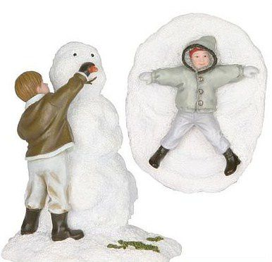600098 Child builds a snowman and child in snow set of 2