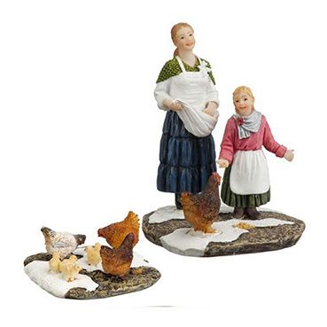604040 Juul and Elle feeding chickens set of 2