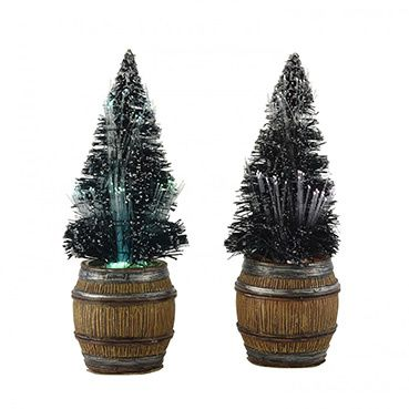 612143 Fibre optic lighted christmas tree in barrel H 12 cm set of 2