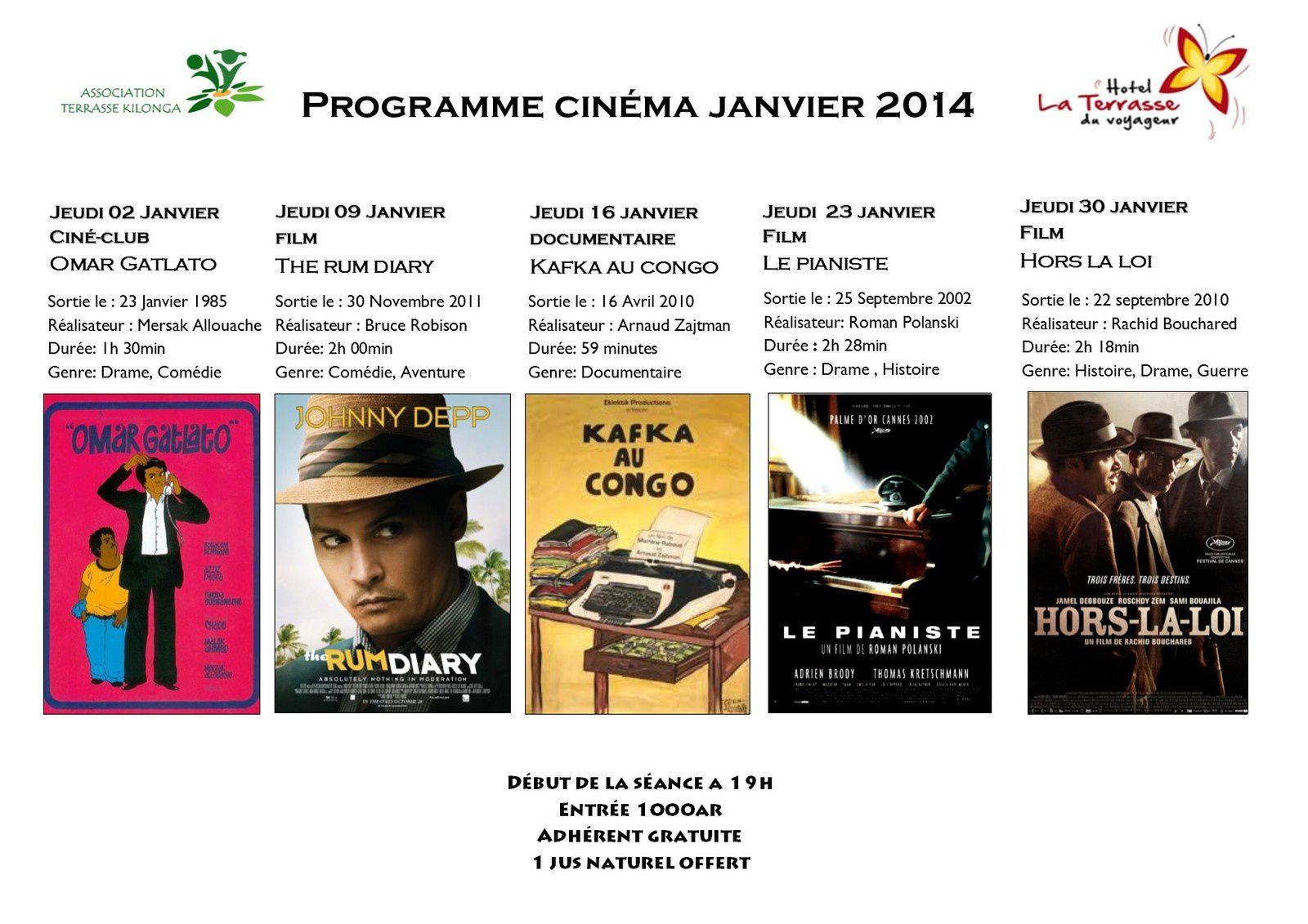 Programme Cinéma Janvier 2014
