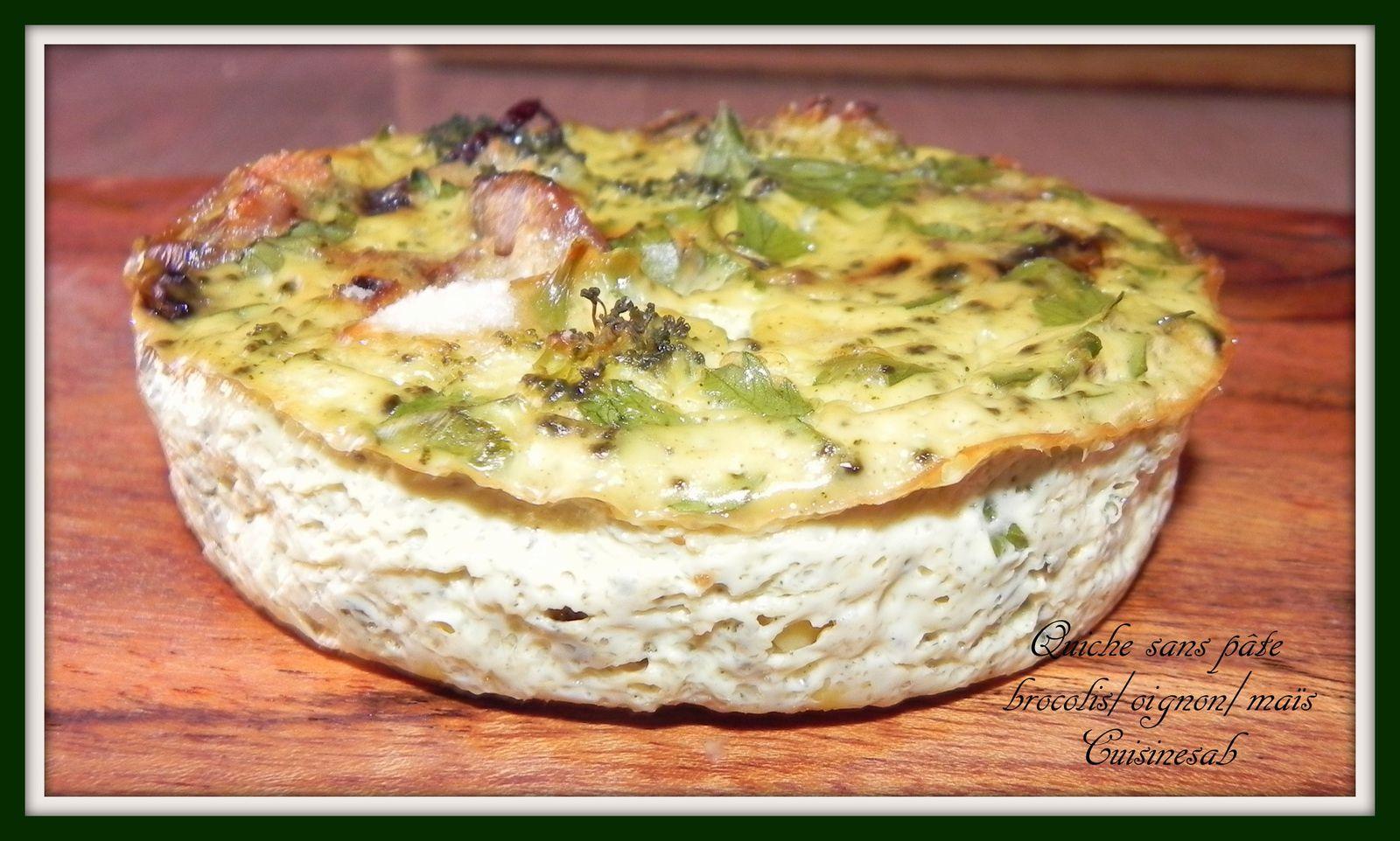 Quiche sans pâte brocolis/oignons/maïs