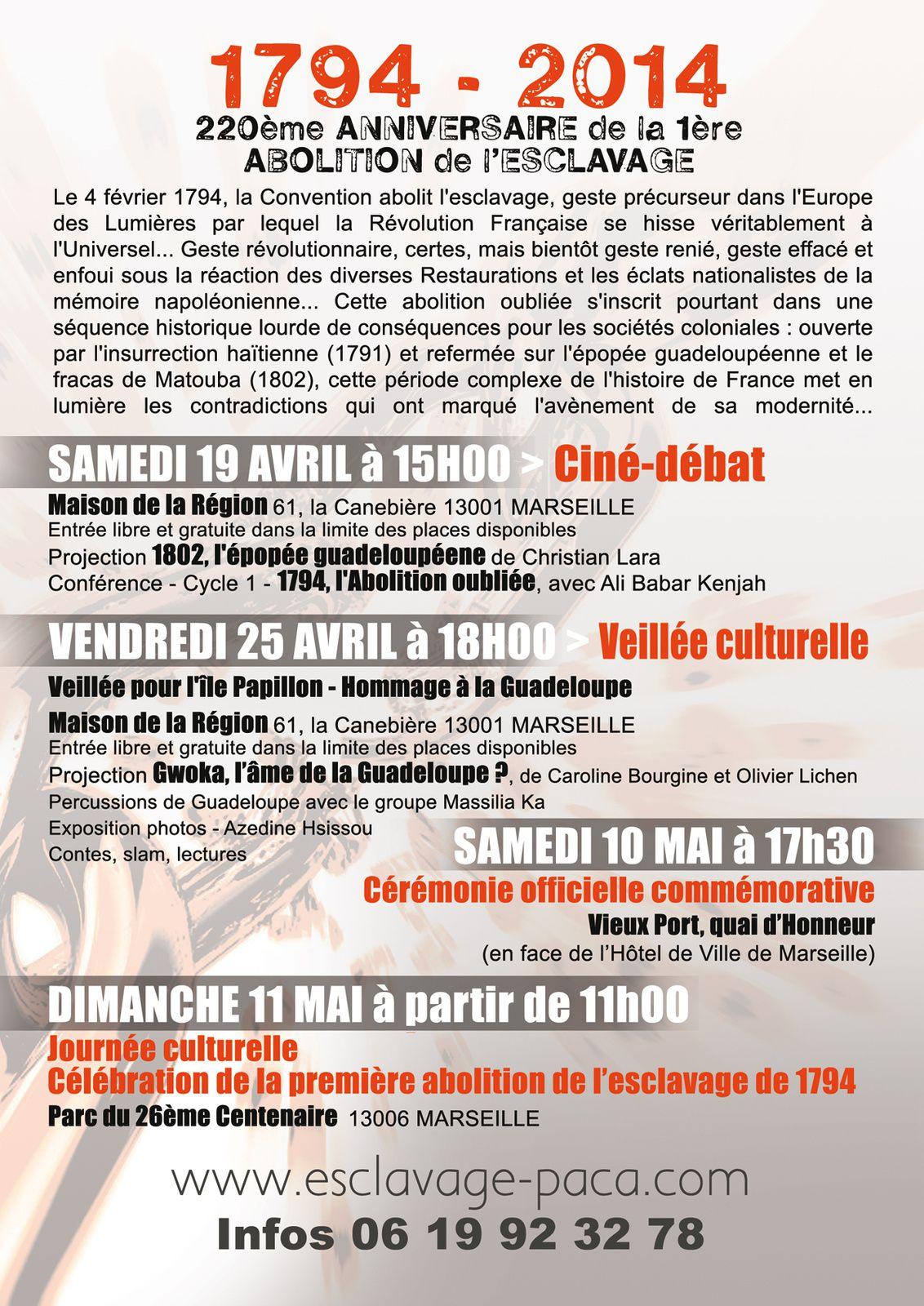19/04/14 - 1794, l'abolition oubliée, avec Ali Babar Kenjah - Marseille