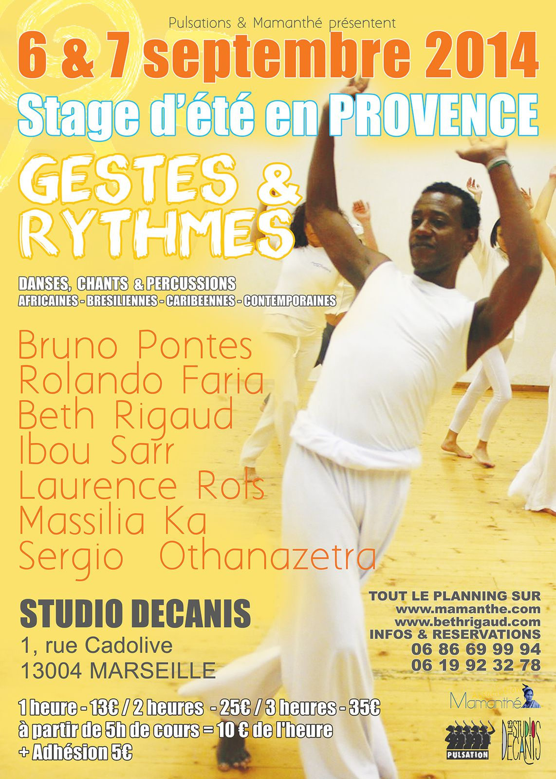 Du 06 au 07/09/14 - Stage d'été en Provence &quot&#x3B;Gestes &amp&#x3B; Rythmes&quot&#x3B; - Marseille