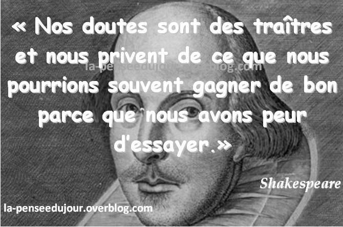 Nos doutes sont des traitres la pens e du jour votre blog de citations paroles de vid os - Shakespeare citation amour ...