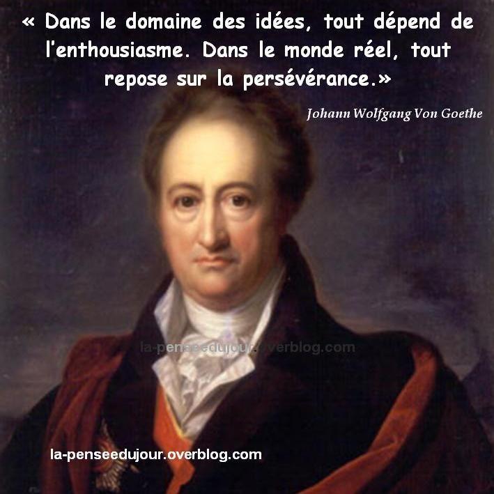 """""""Dans le domaine des idées, tout dépend de l'enthousiasme. Dans le monde réel, tout repose sur la persévérance."""" Johann Wolfgang Von Goethe"""