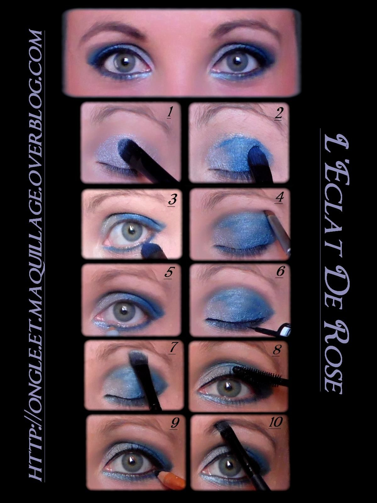 maquillage bleu argent avec tuto en image roxane l. Black Bedroom Furniture Sets. Home Design Ideas