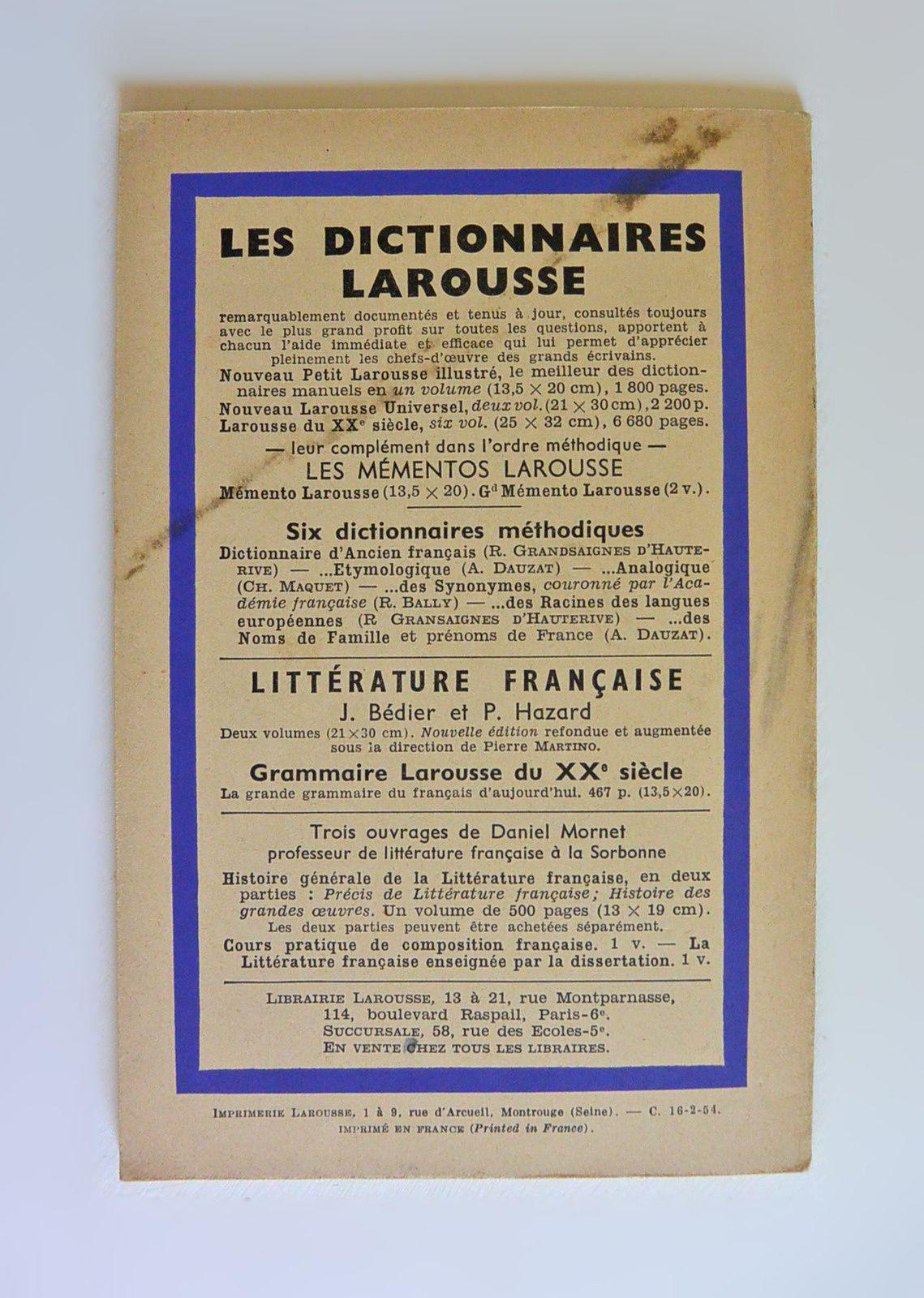 &quot&#x3B;Jocelyn&quot&#x3B; Lamartine, extraits T.II, ed. Larousse 1953