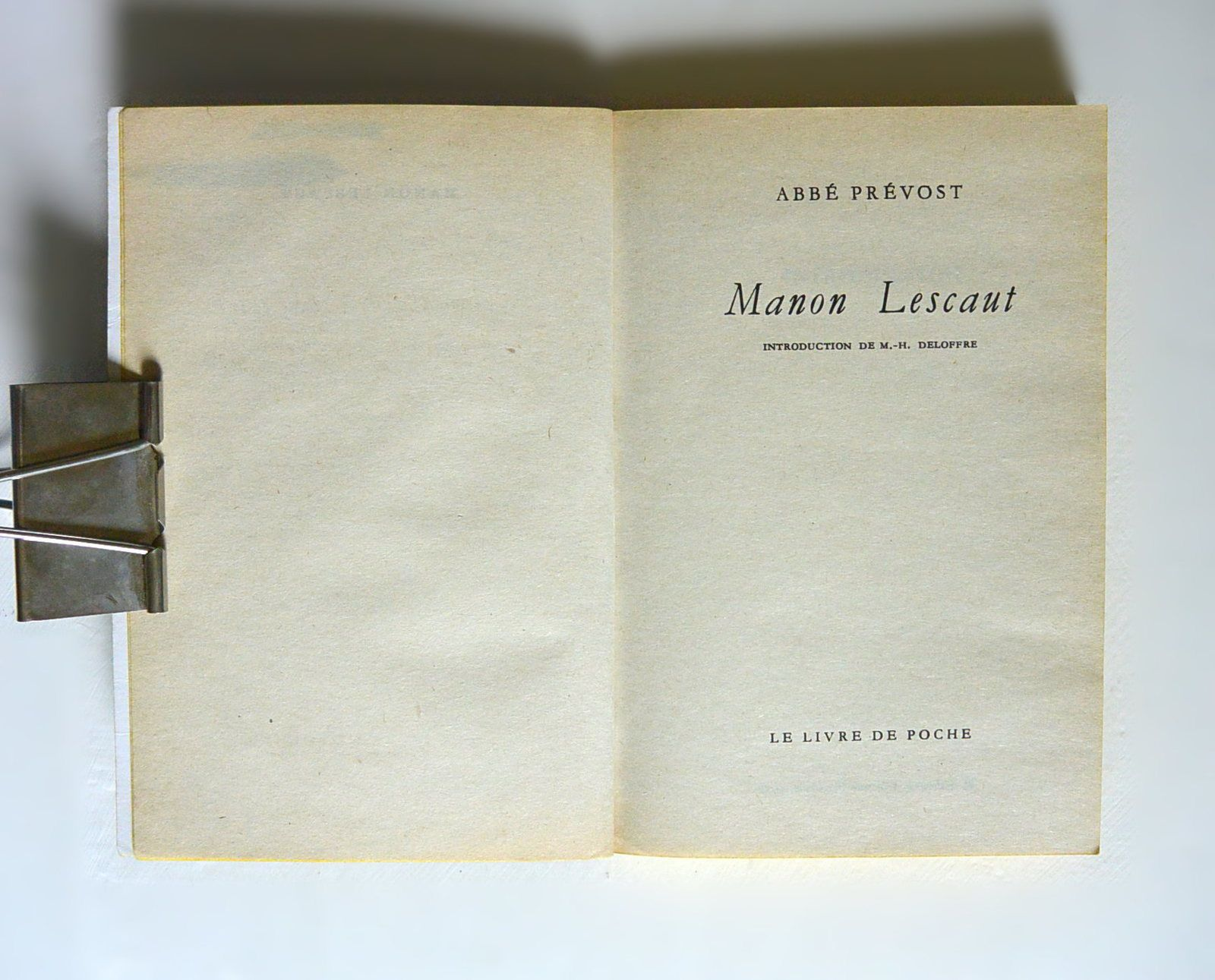 &quot&#x3B;Manon Lescaut&quot&#x3B; abbé Prevost, Ldp 1991