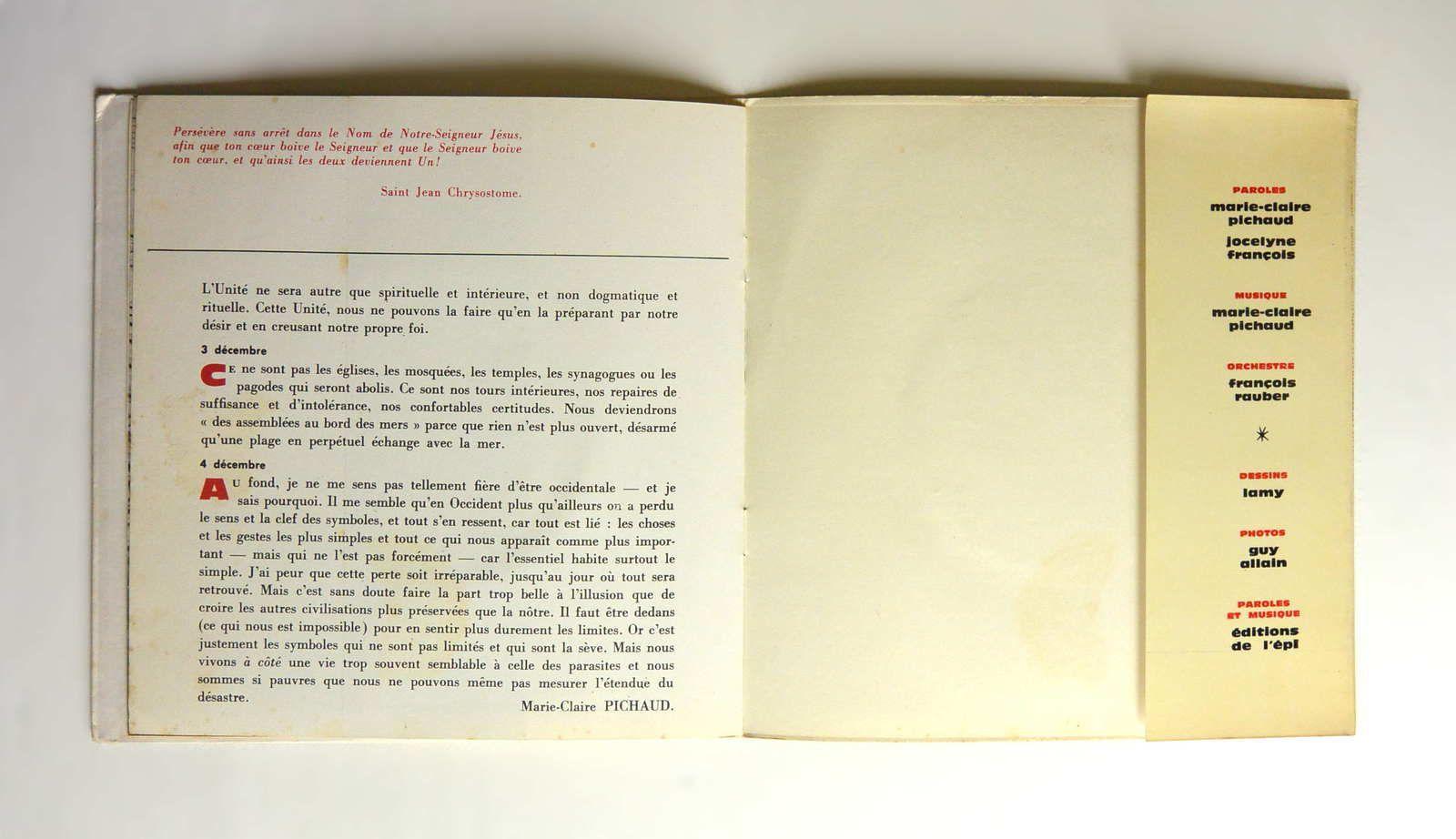 Disque vinyl 45T Pichaud &quot&#x3B;Chansons pour l'unité&quot&#x3B;