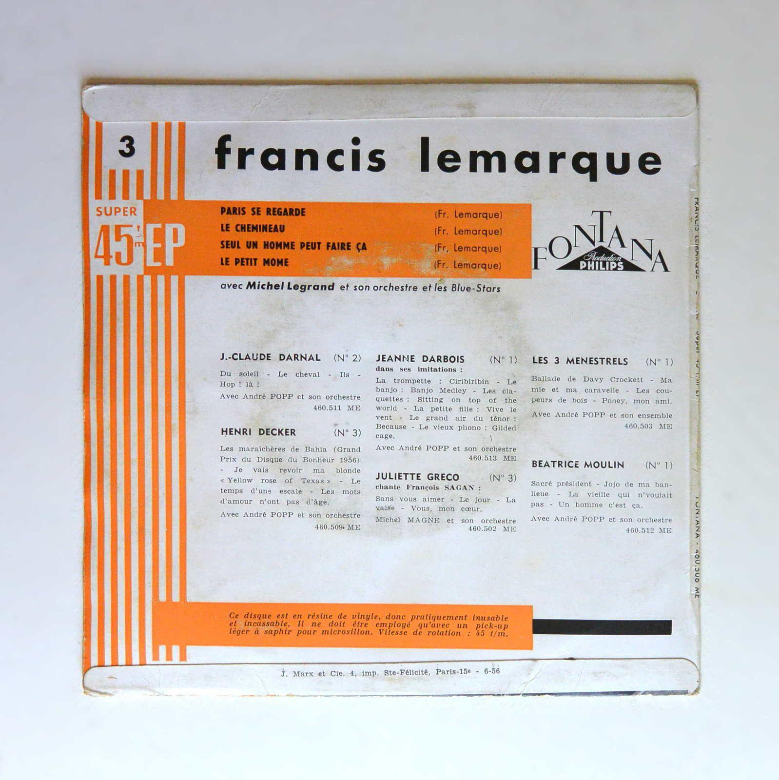 Disque vinyle 45T Francis Lemarque &quot&#x3B;Paris se regarde&quot&#x3B;