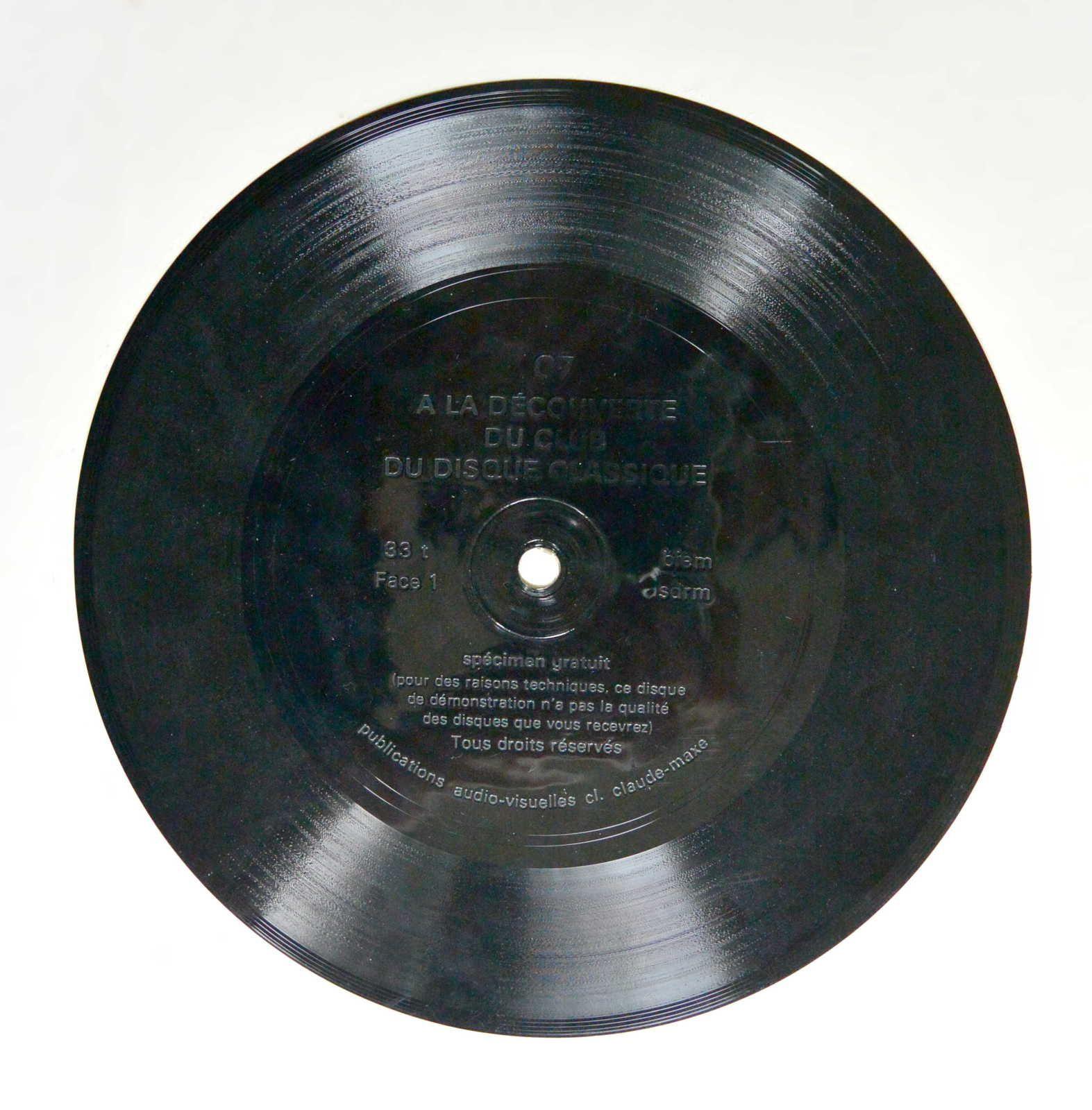 Disque vinyle 45T &quot&#x3B;A la découverte du club du disque classique - C7&quot&#x3B;