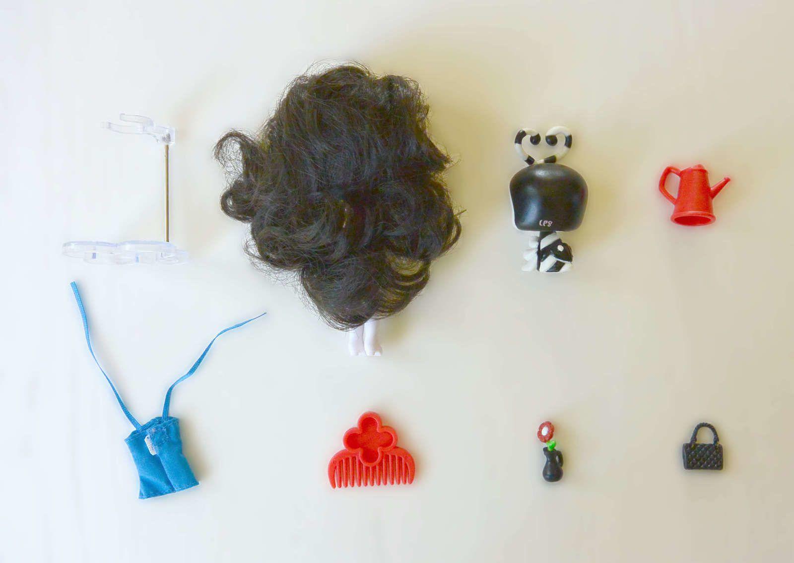 Poupée Blythe B32, chenille 2250 et accessoires Black &amp&#x3B; White Collection Hasbro© Littlest Petshop