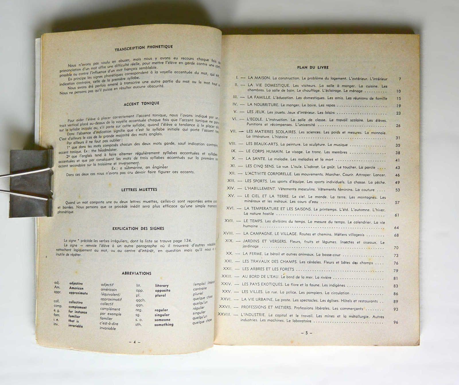 Livre «Le mot et l'idée» vocabulaire Anglais, J.Rey, ed. Ophrys 1963