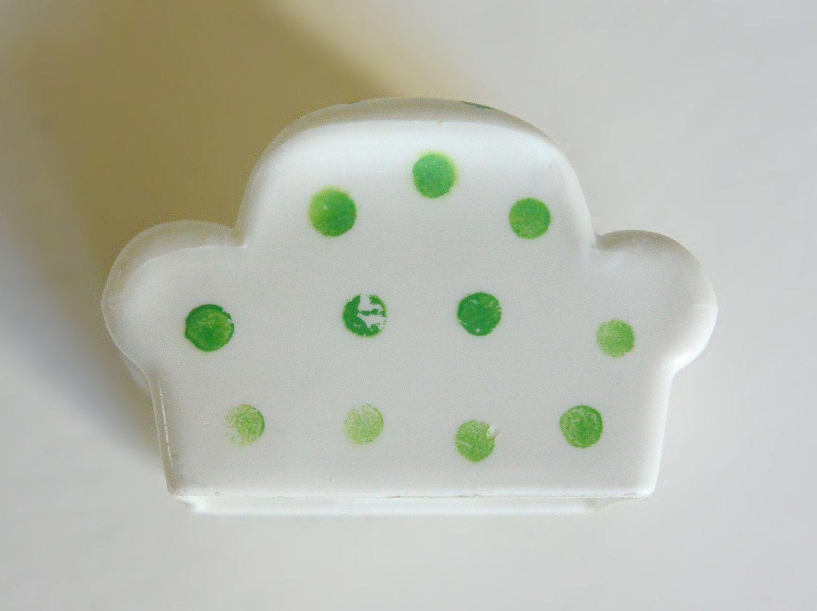 Fauteuil blanc à pois verts Little People Fisher Price© vintage