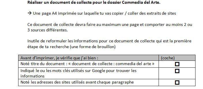 Le document de collecte vu par les élèves