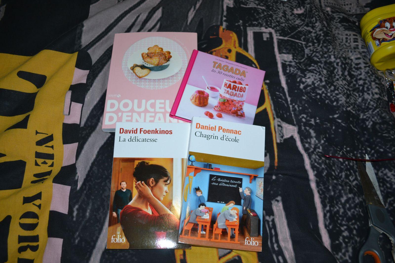 """Le livre """" la delicatesse"""" qui etait dans ma whish (et que j'ai lu tres vite),""""chagrin d'école"""" que je ne connais pas mais qu'il me tarde de lire, et 2 livres de recettes.....je suis super contente je cuisine beaucoup et j'adore les livres de cuisine. Celui à base de tagada est tres original et je testerai pour un des gouters d'anniversaire d'un de mes enfants...effets garantis je pense"""