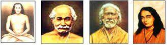 Les principaux maîtres du Kriya Yoga actuel (de gauche à droite) : Babaji, Lahiri Mahasari, Sri Yukteshwar, Yogananda (il manque Jésus et Sri Satyananda pour être complet)