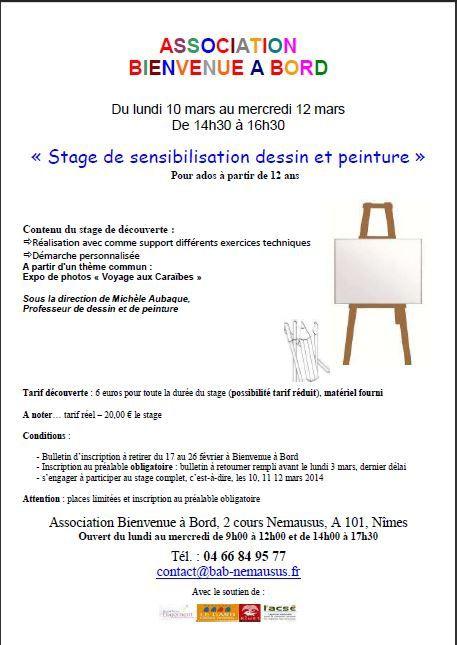 """""""stage de sensibilisation dessin et peinture"""" pour ados de plus de 12 ans : 10 - 11 - 12 mars de 14h30 à 16h30"""