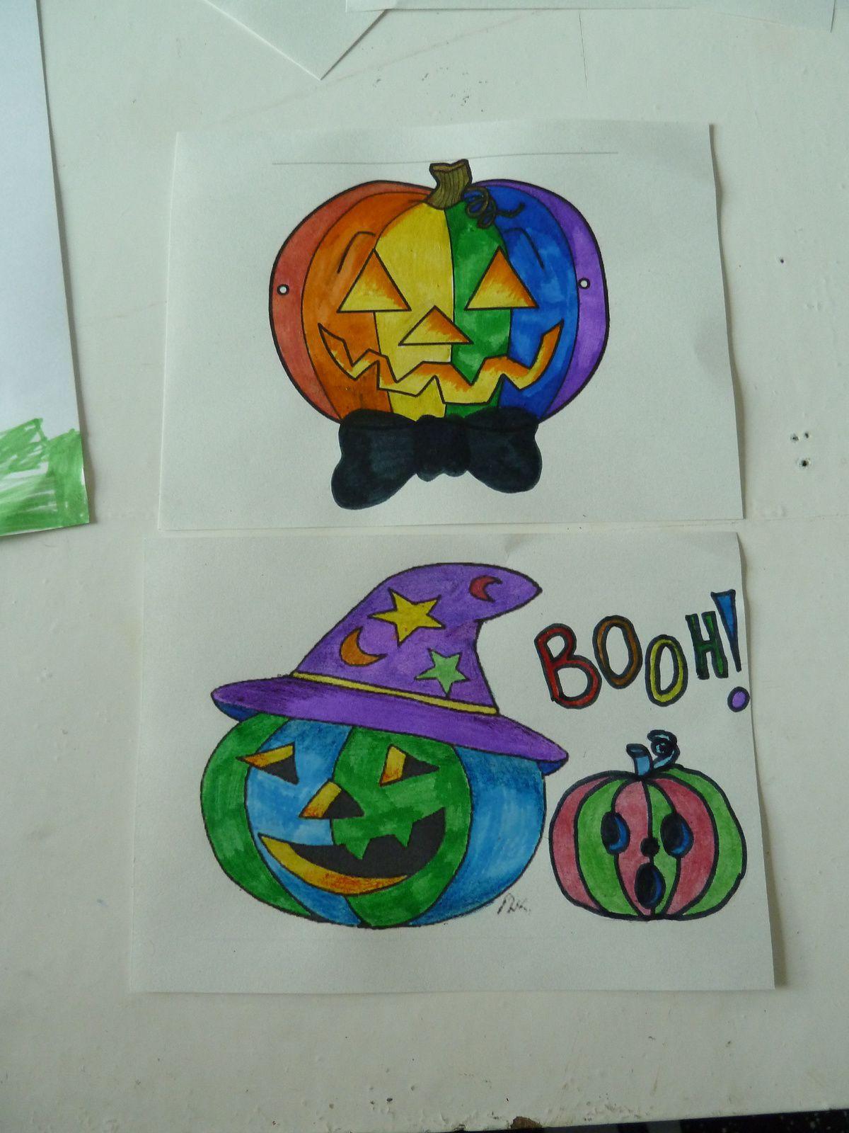 Masques et dessins sur le thème Halloween