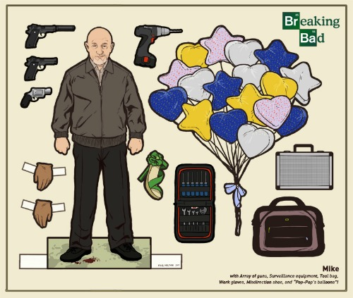 Complete set of Breaking Bad paper dolls by Kyle Hilton