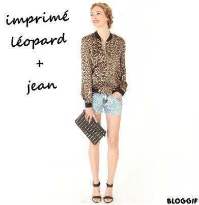 L'imprimé léopard se mari super bien avec du jean clair.