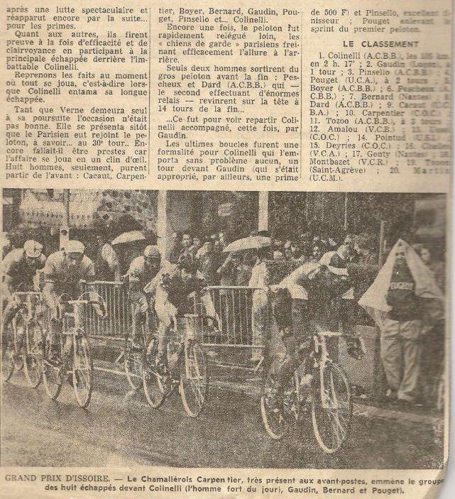 """Article de presse """"Grand Prix d' Issoire"""" 1975 (Michel Gaudin 2ème)"""