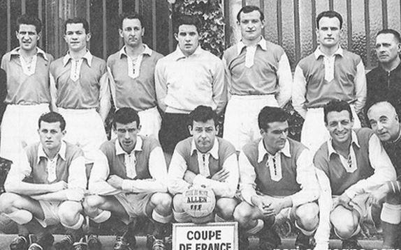 Dominique Colonna avec le Stade de Reims 1957-1958 : Zimny, Penverne, Jonquet, Colonna, Siatka, Giraudo, Lamartine, Bliard, Fontaine, Piantoni et Vincent.