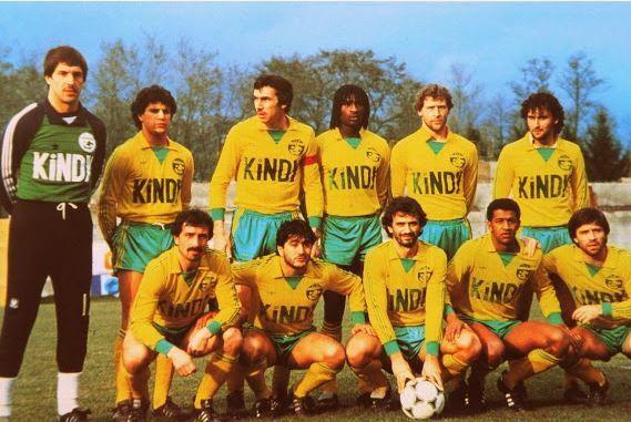Jean-Paul Bertrand-Demannes avec le FC Nantes 1982-1983 : dans le desordre : Bertrand-Demannes, Adonkor, Ayache, Rio, Touré, Bossis, Tusseau, Baronchelli, Muller, Picot, Halilhodzic.