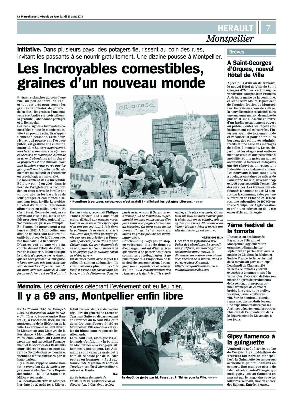 Article de l'Hérault du jour du 26 aout