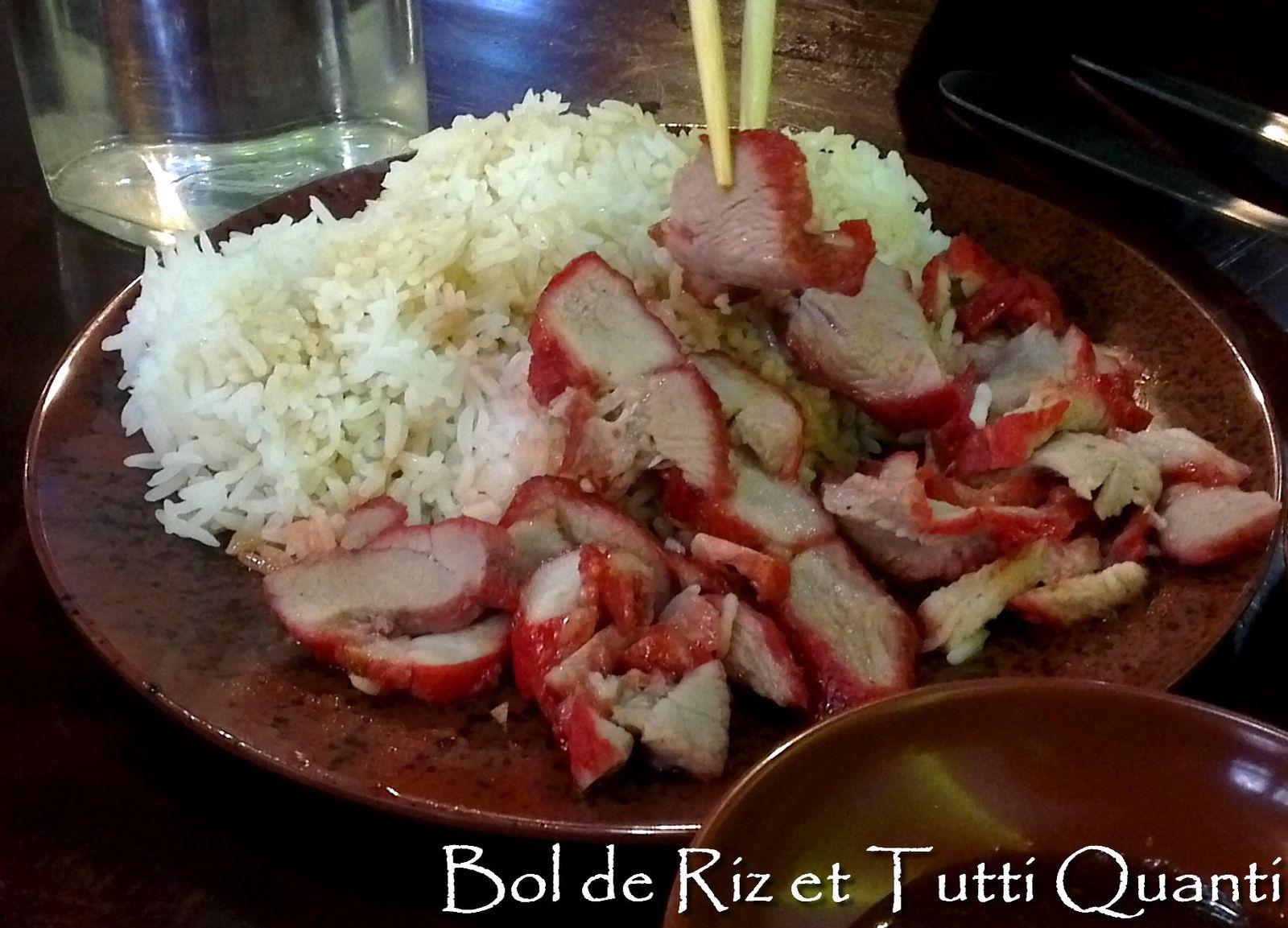 Une portion de porc laqué + un riz blanc + une soupe maison = 8€