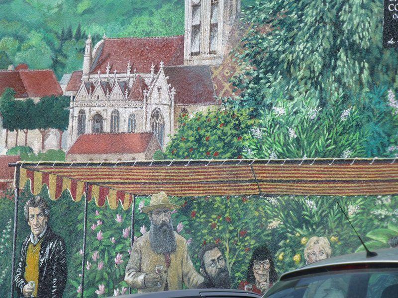 fresque murale de Vétheuil, place de la mairie,