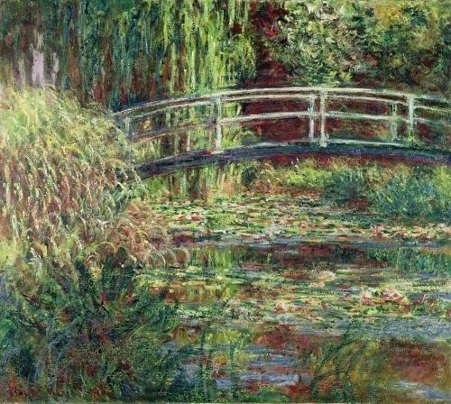 photo de 2008 à Giverny, en dessous peinture de Claude Monet, le bassin aux nymphéas, harmonies roses