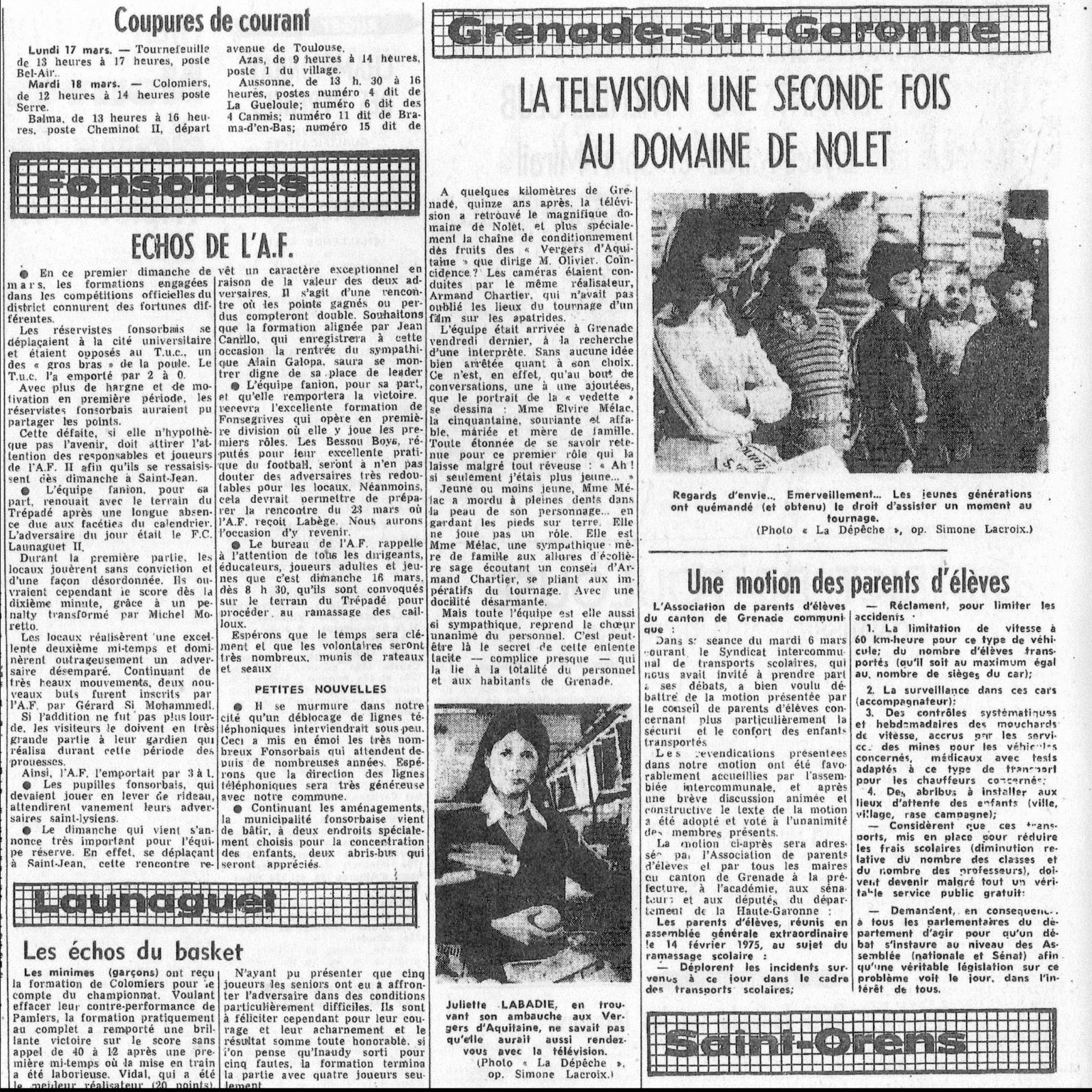 article de presse de 1975