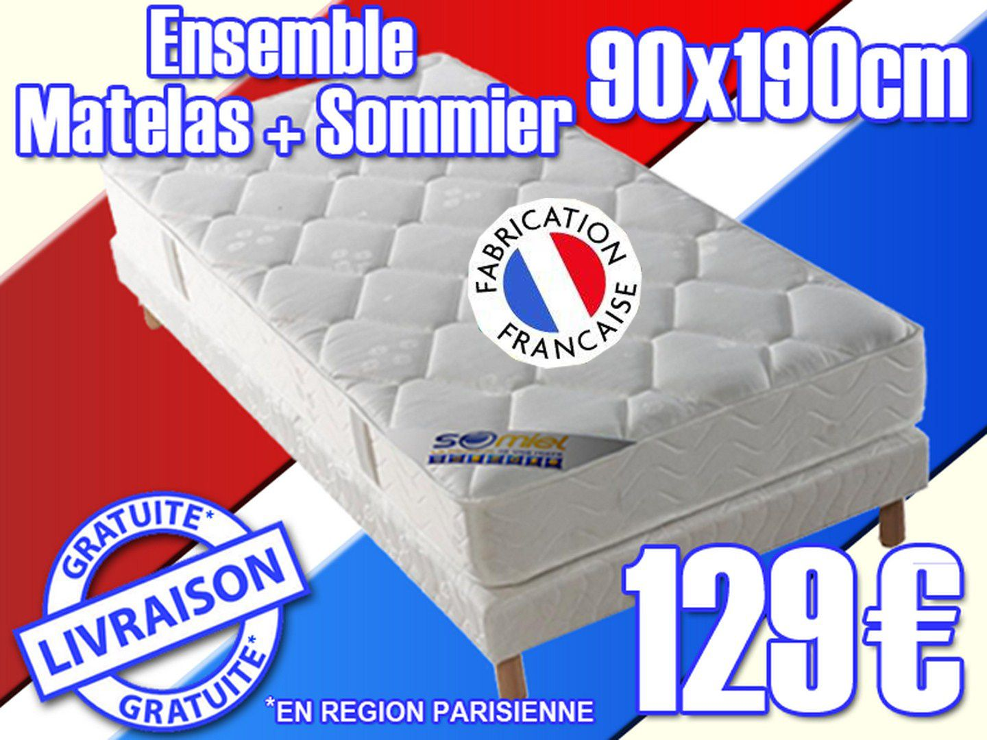 ensemble matelas sommier 90x190 cm neuf promo. Black Bedroom Furniture Sets. Home Design Ideas
