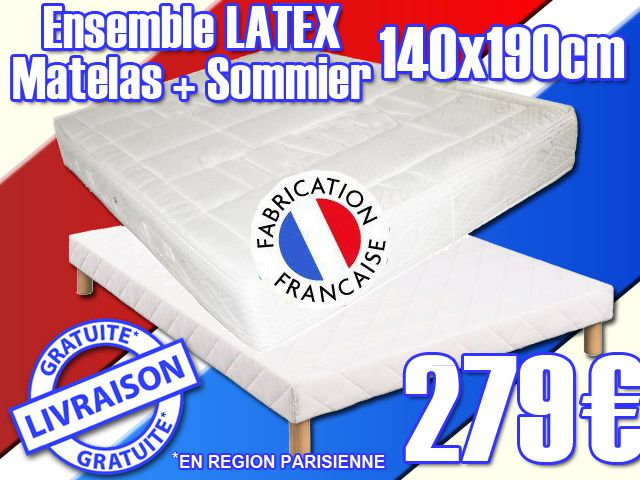 matelas sommier latex neuf garantie 5 ans. Black Bedroom Furniture Sets. Home Design Ideas