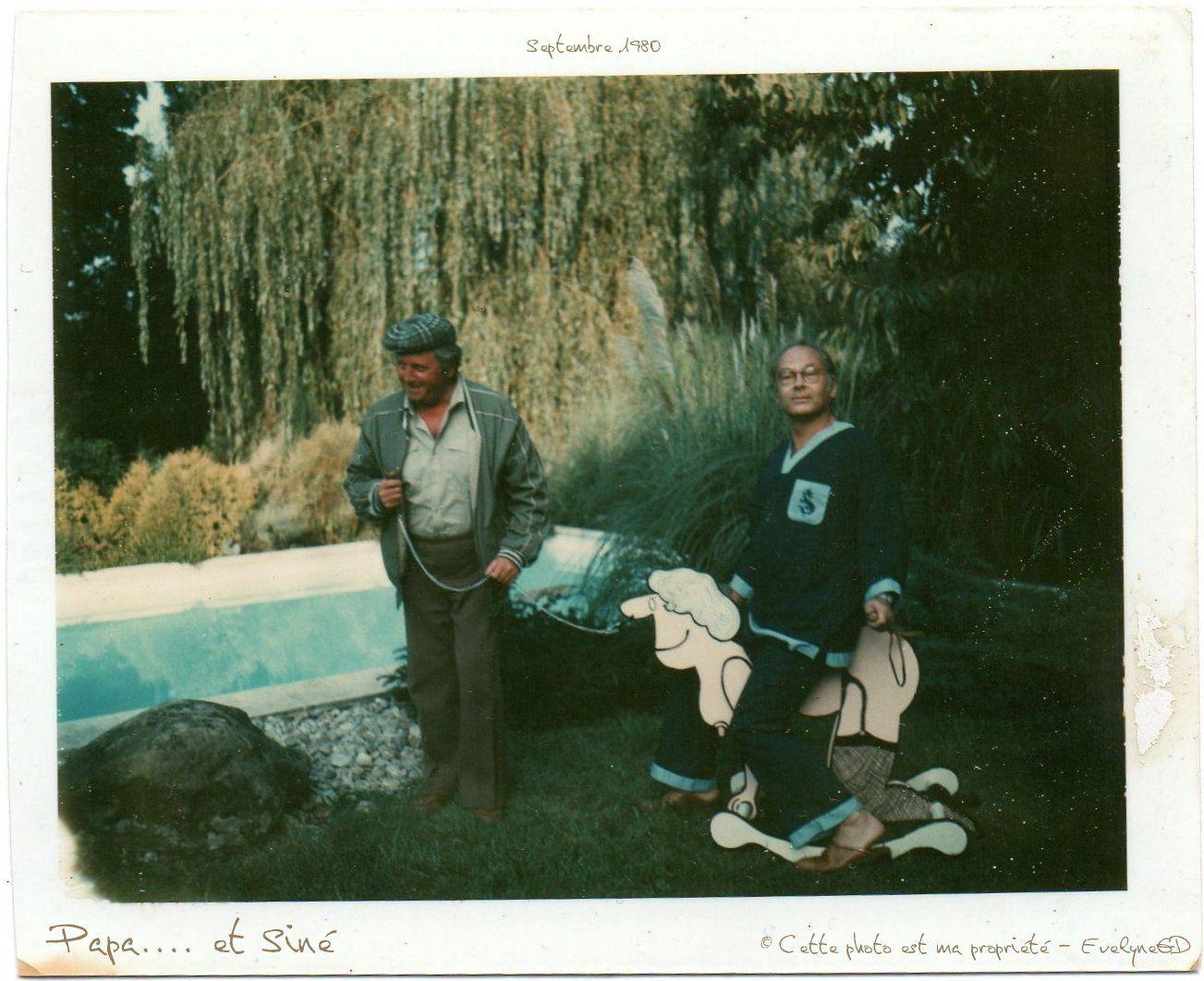 Mon père, Guy Montagné, Terry Shane et Siné.. Chez Siné, qui fut leur voisin dans le Val d'Oise..