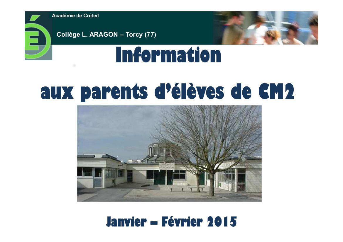 Présentation du collège Louis Aragon - 30 janvier 2015