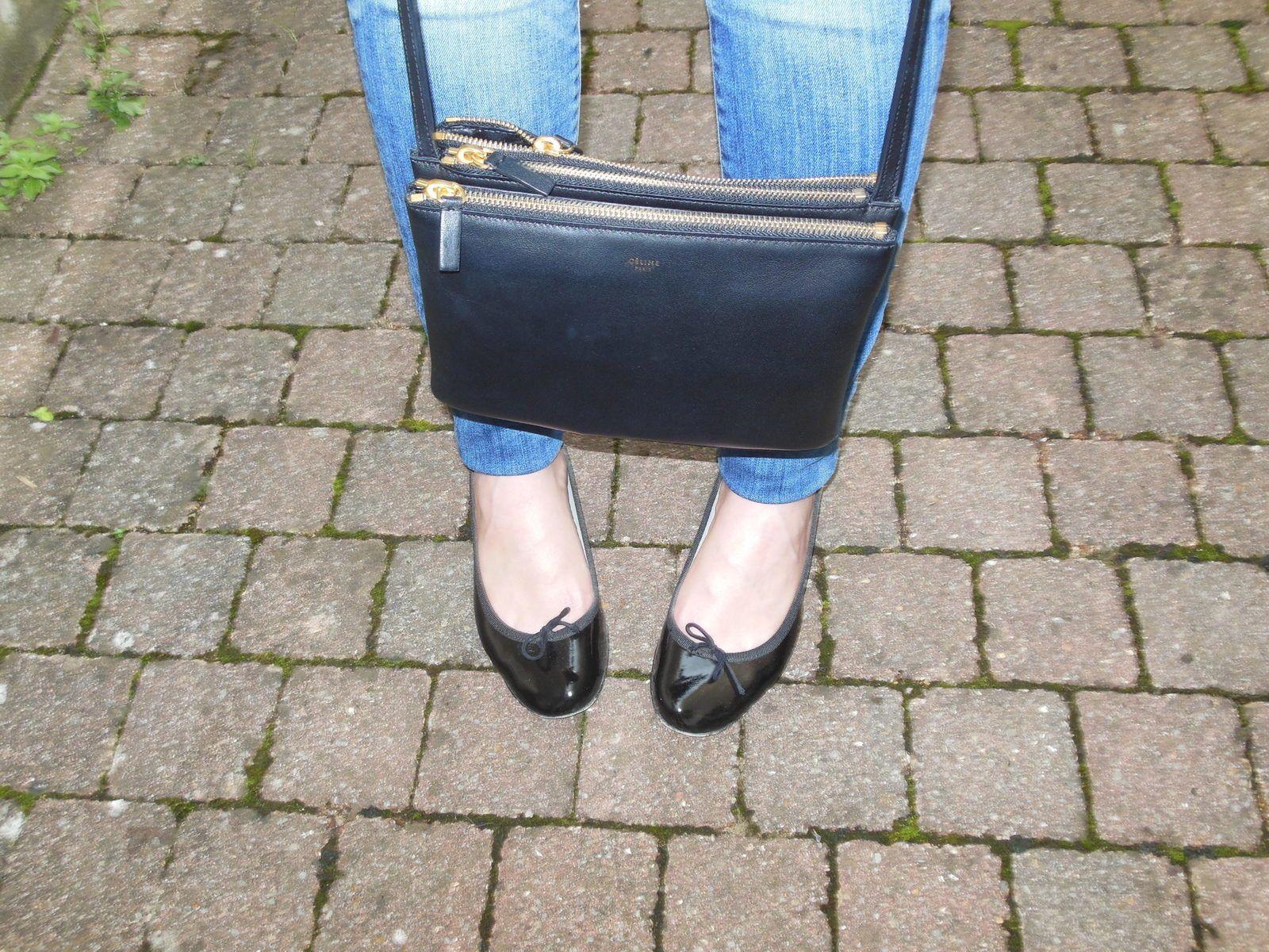 "Chemise & Jeans - Zara // Ballerines ""Camille"" - Repetto // Sac - Céline"